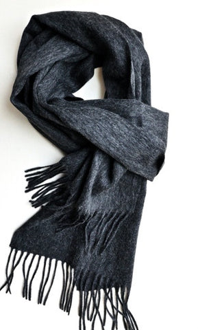 Mens plain dark grey scarf by Thank You India