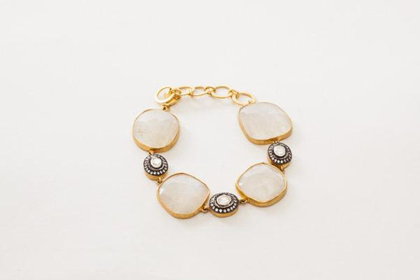 moonstone and cubic zirconia bead gold bracelet