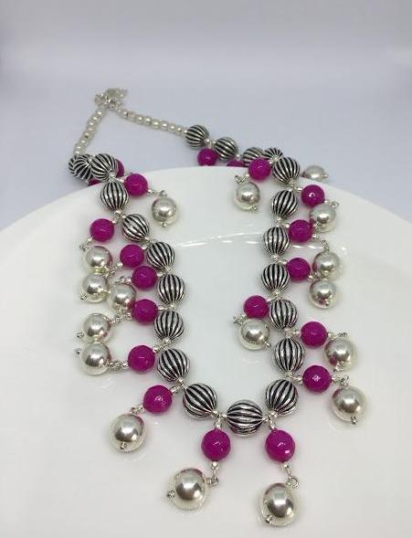 sterling silver multi strand necklace with wax and pink beads thank you india ethical jewelry