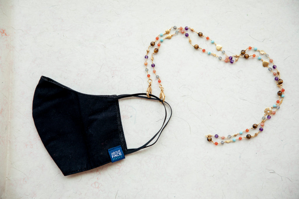 Black Face Mask with the Multi semi precious bead Face Mask Chain & Necklace attached