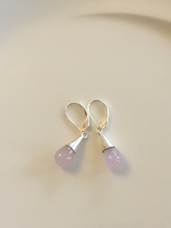 Pear Drop Earrings in Rose Quartz by Thank You India