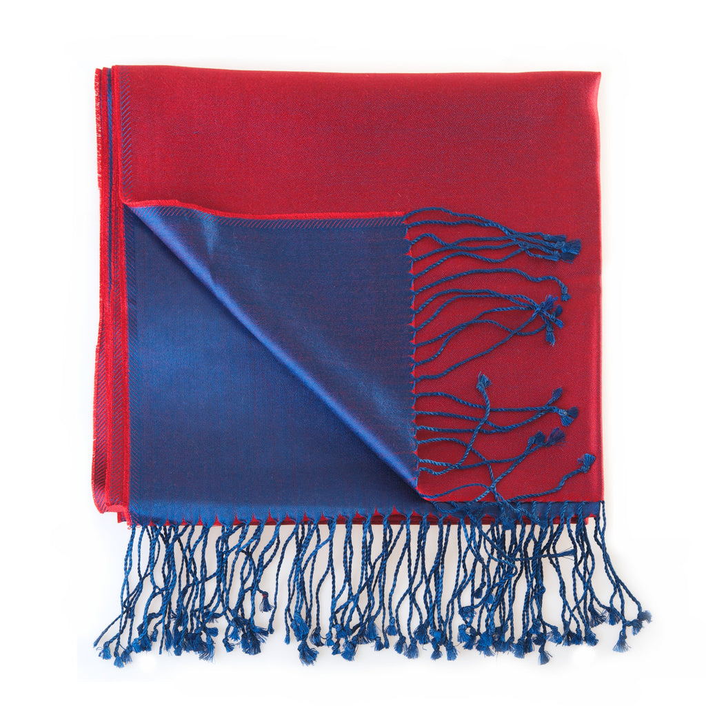 Two tone Silk Stoles - Royal Red/Royal Blue