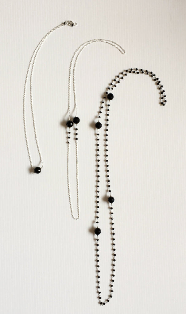 set of three black onyx sterling silver layering necklaces thank you india 2018 ethical fashion