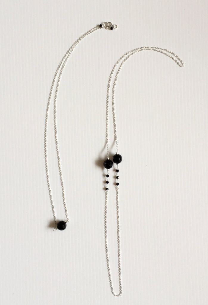 "short and long 21"" 26"" layering black onyx sterling silver necklaces thank you india"