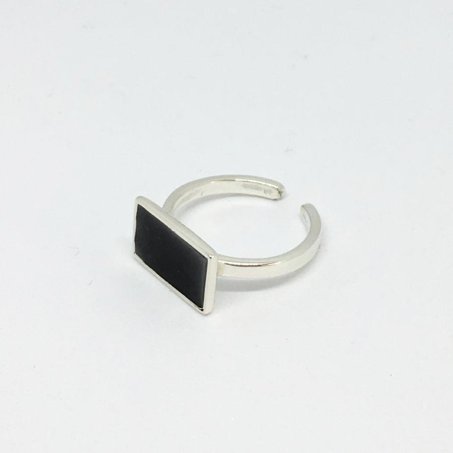 side angle view adjustable sterling silver black enamel ring thank you india 2018 architectural collection