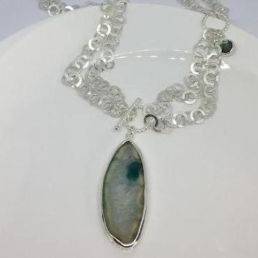 sterling silver necklace with green blue agate and labradorite ethically made by Thank you india