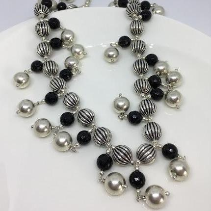 sterling silver multi strand necklace made with wax and black onyx beads thank you india