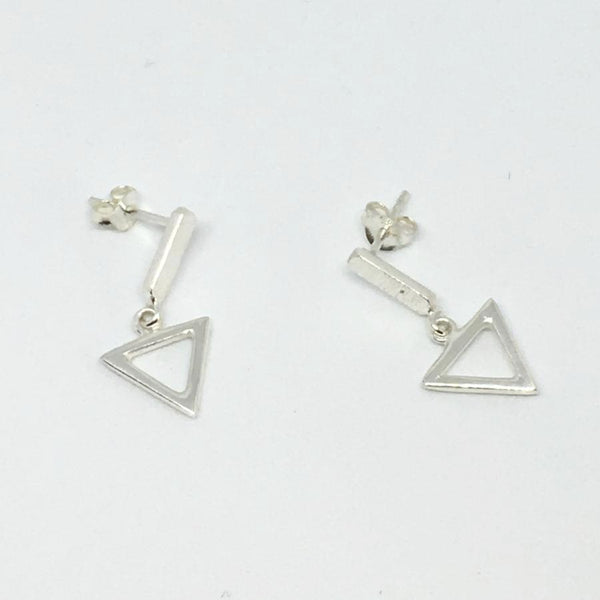 sterling silver stud post earrings triangle thank you india tazim lal 2018 geometric architectural
