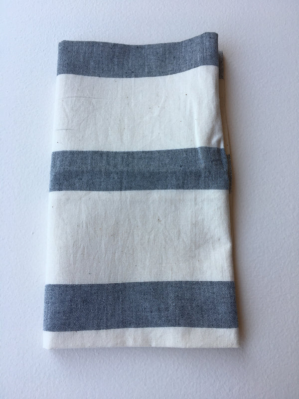Muted Grey Striped Table Napkins in Horizontal Format