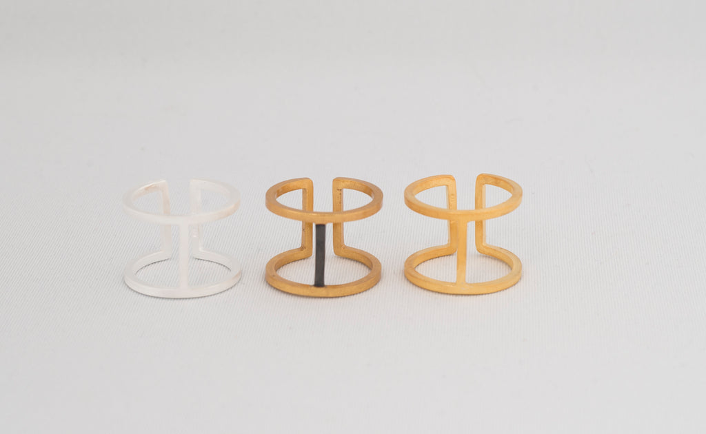 All three mid rib ring variants - Sterling Silver, Two Tone and Gold by Thank You India