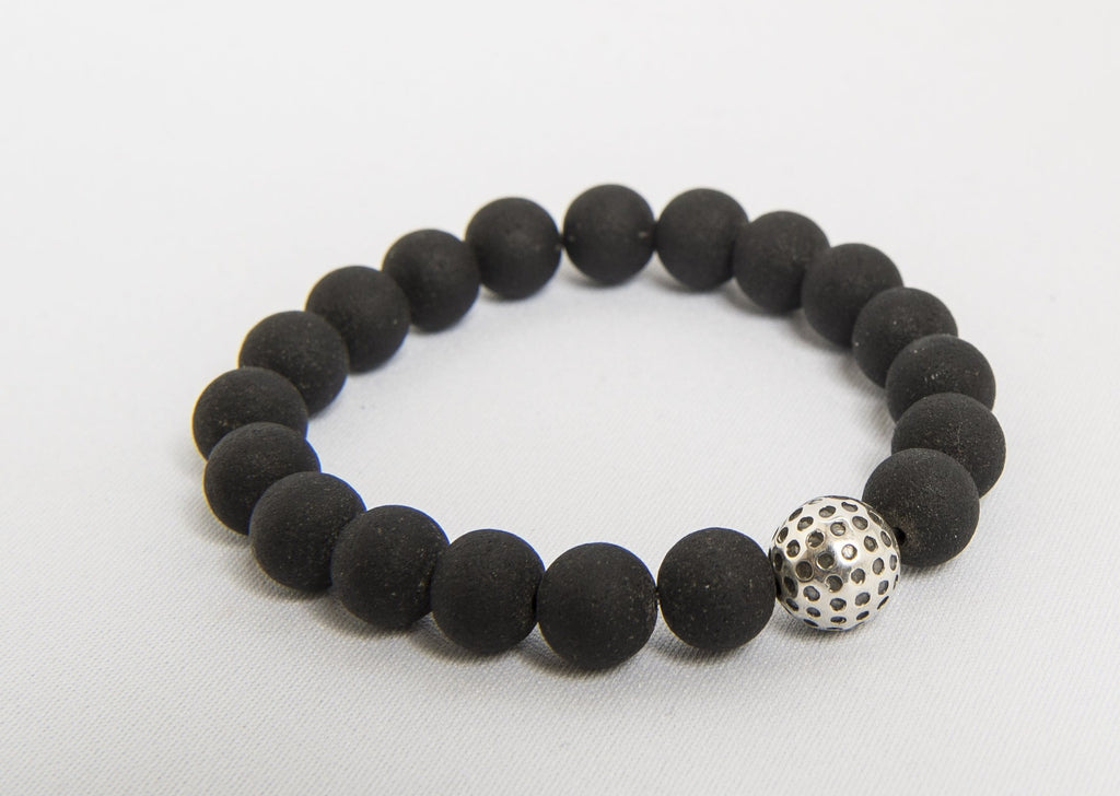 golf bead black onyx stretch bracelet
