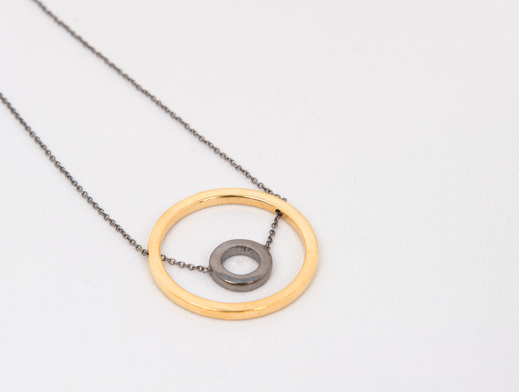 Two Tone Circle Necklace in white background  by Thank You India