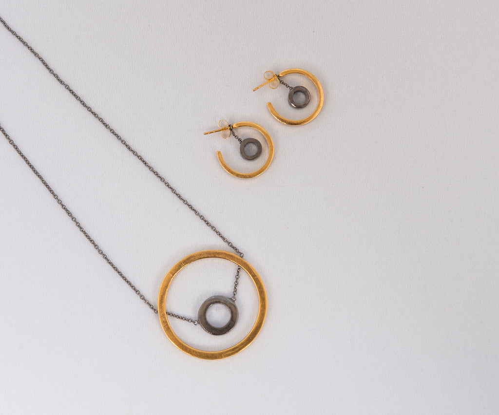Two Tone Circle Necklace and Two tone Earrings set from Thank You India