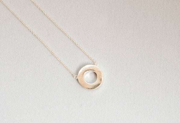 Detailed view of the Minimal Circle Necklace - Sterling Silver by Thank You India