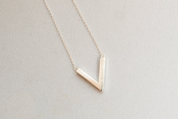 Minimal V Necklace - Sterling Silver by Thank You India
