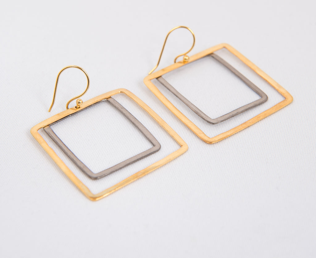 Two Tone Square Earrings