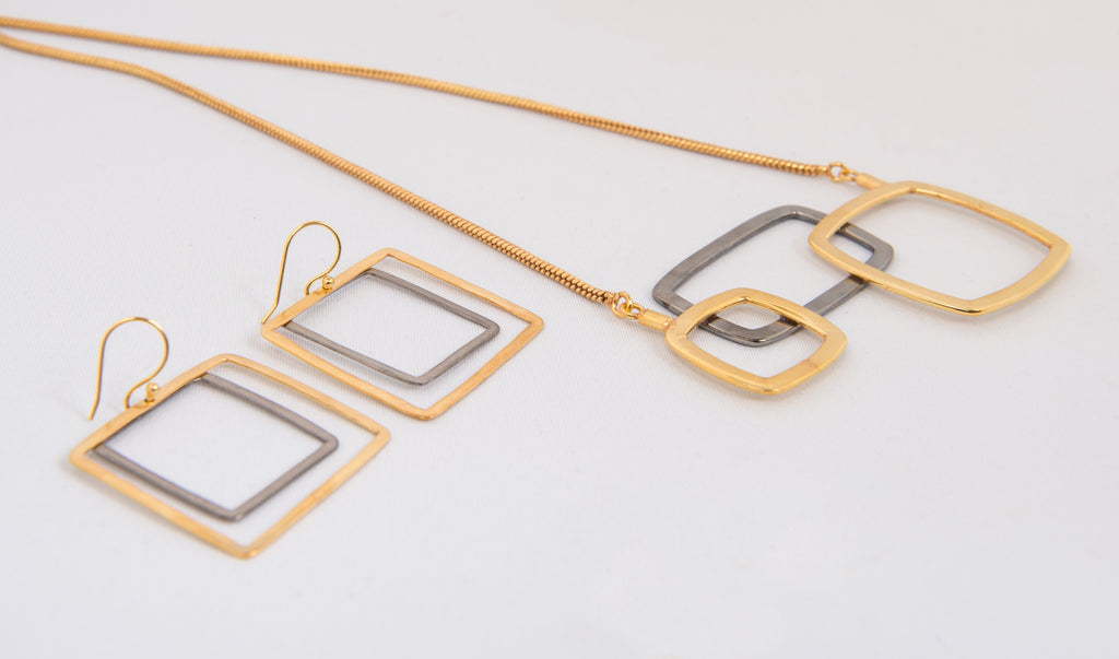 Detailed of the Two Tone Square Necklace with matching earrings by Thank You India
