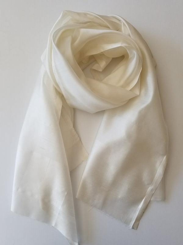 pure white silk scarf hand woven in india rolled to display texture