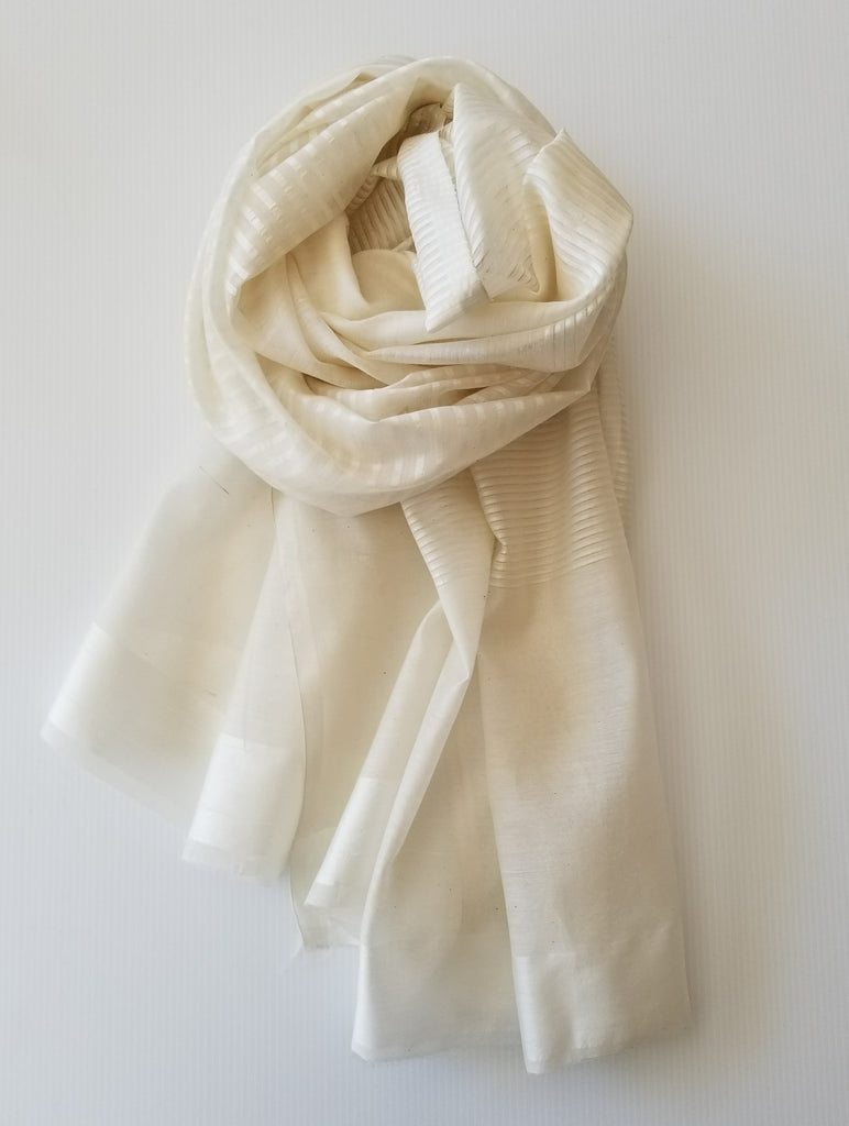 white striped tone on tone silk scarf for yoga savasana made in india