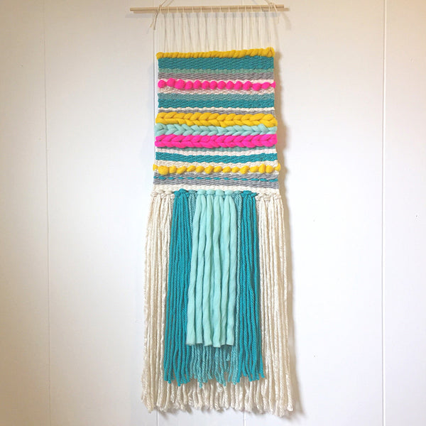 Woven Wall Hanging - Hi-lighter Brights - Pink, Yellow and Turquoise