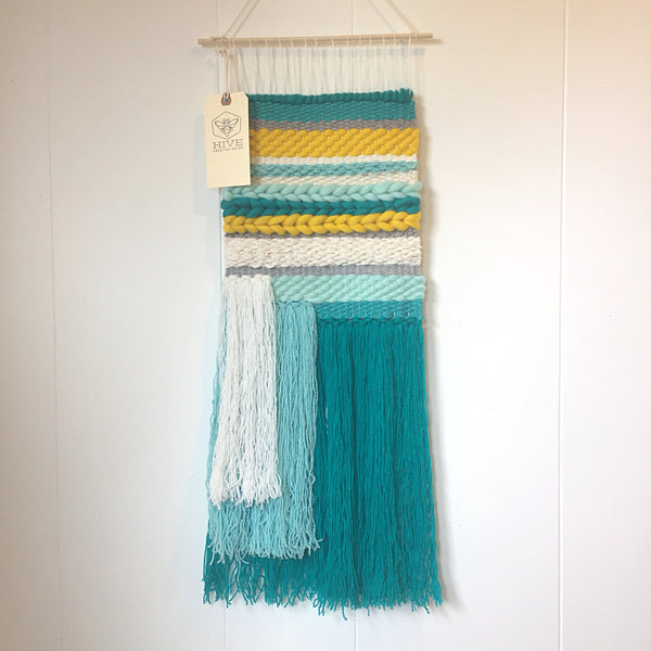 Woven Wall Hanging - Hi-lighter Brights -  Yellow and Turquoise