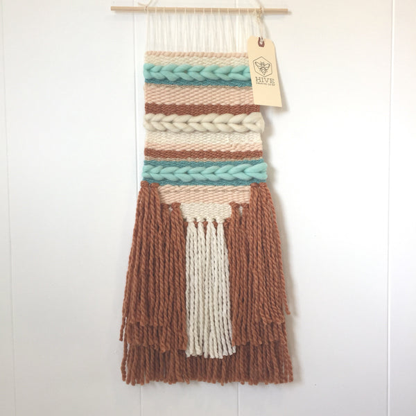 Woven Wall Hanging - Terra Cotta and Pool