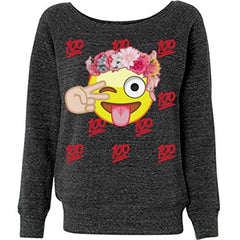 100 Emoji Dreams: Ladies Triblend Wideneck Sweatshirt