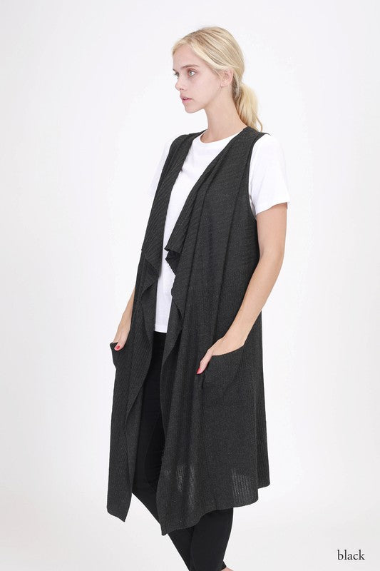 Black Sleeveless Long Cardigan
