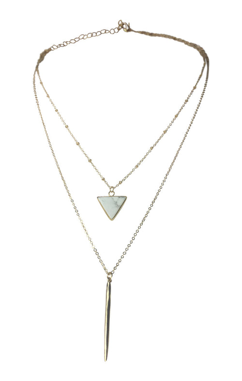 Two Layer Triangle Pendant Necklace - White