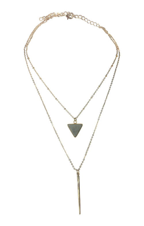 Two Layer Triangle Pendant Necklace - Gray