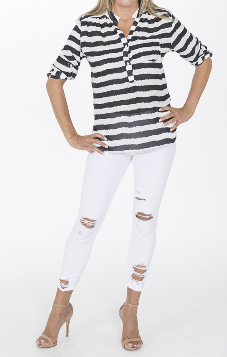 Black and White Striped 3/4 Sleeve Blouse - Troovi Finds, Tops, 1 Funky, Troovi Finds