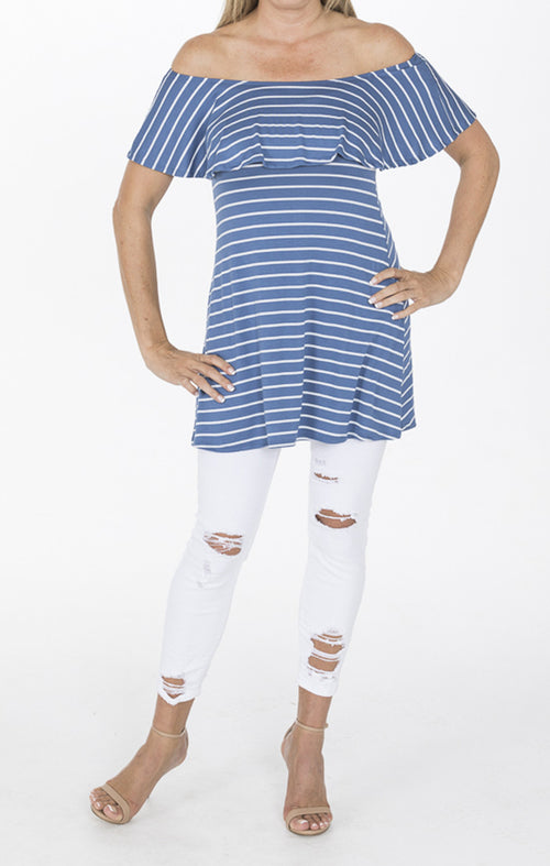 Blue Striped Off Shoulder Tunic With Ruffle Overlay