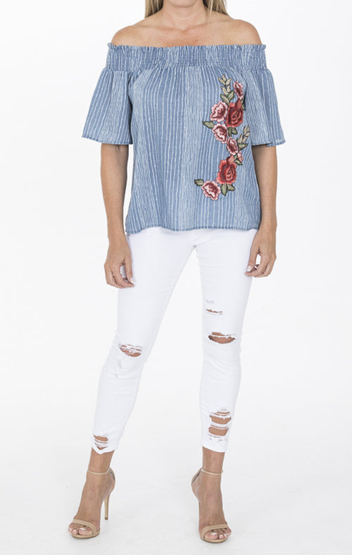 Denim Floral Embroidered Off Shoulder Top