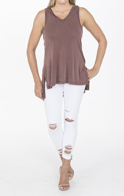 Marsala High Low Sleeveless Top with Hood