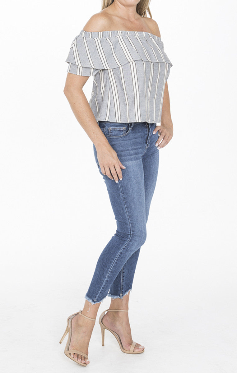 Off Shoulder Gray Striped Top - Troovi Finds, Tops, Everly, Troovi Finds