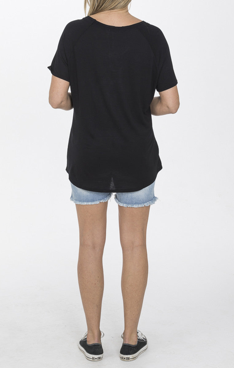 Relaxed V-Neck Tee - Black - Troovi Finds, Tops, Double Zero, Troovi Finds