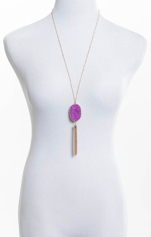 Stone and Tassel Necklace - Purple