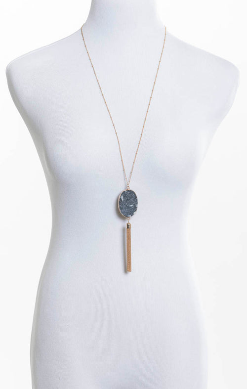 Stone and Tassel Necklace - Black