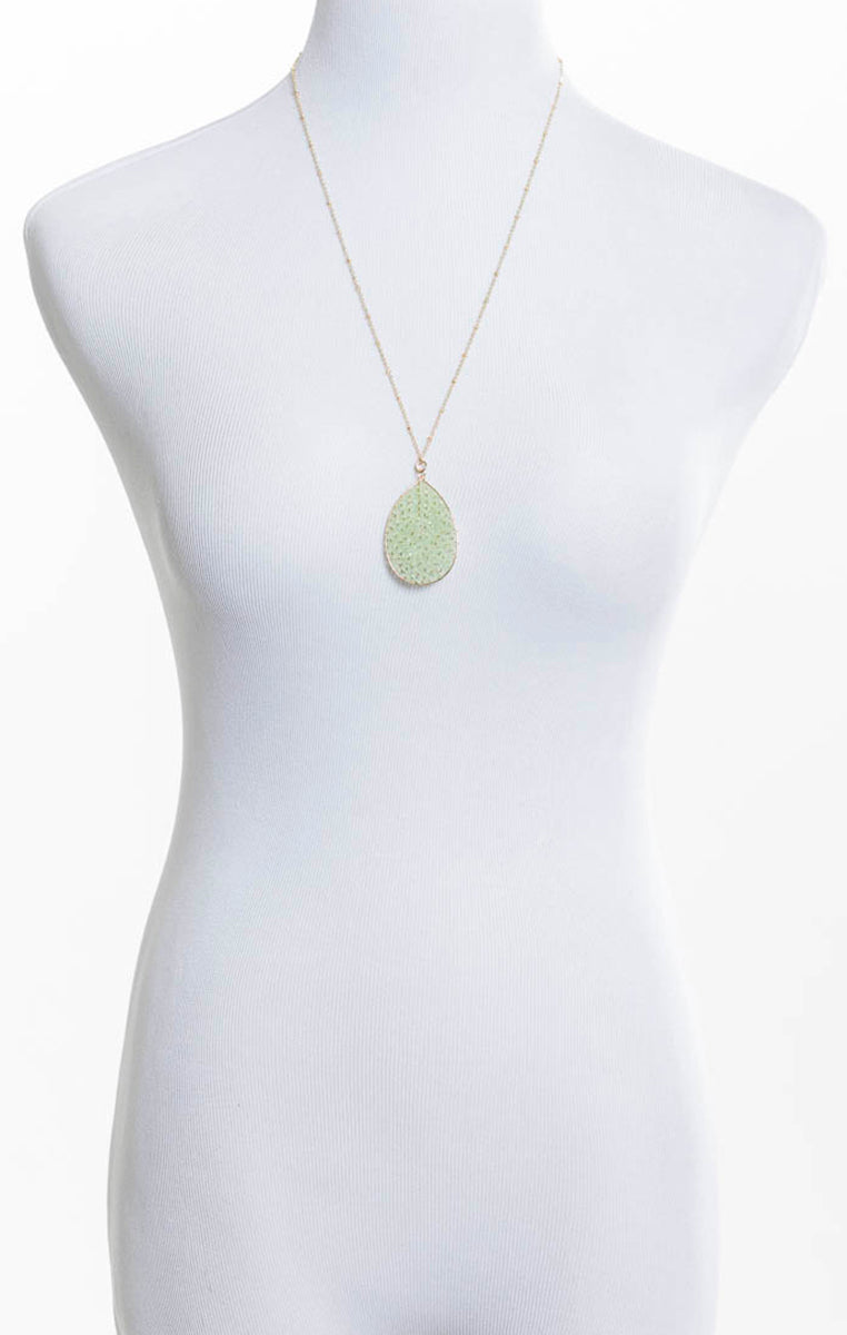 Beaded Teardrop Necklace - Mint - Troovi Finds, Accessories, Fame, Troovi Finds