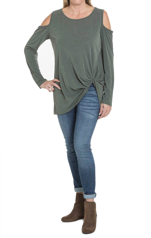 Cold Shoulder Twist Top - Olive