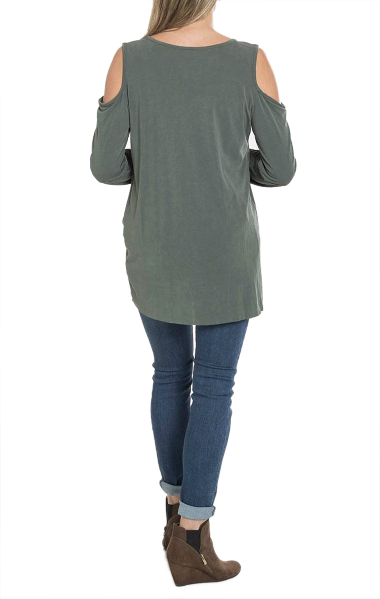 Cold Shoulder Twist Top - Olive - Troovi Finds, Tops, Jodifl, Troovi Finds
