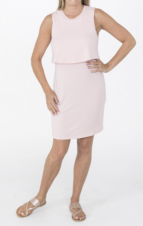 Pink Midi Dress With Overlay Top