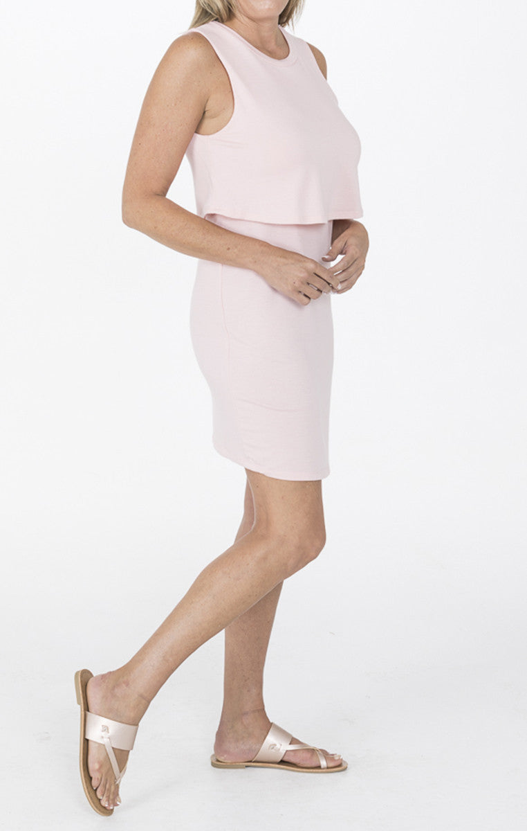 Pink Midi Dress With Overlay Top - Troovi Finds, Dresses, Everly, Troovi Finds