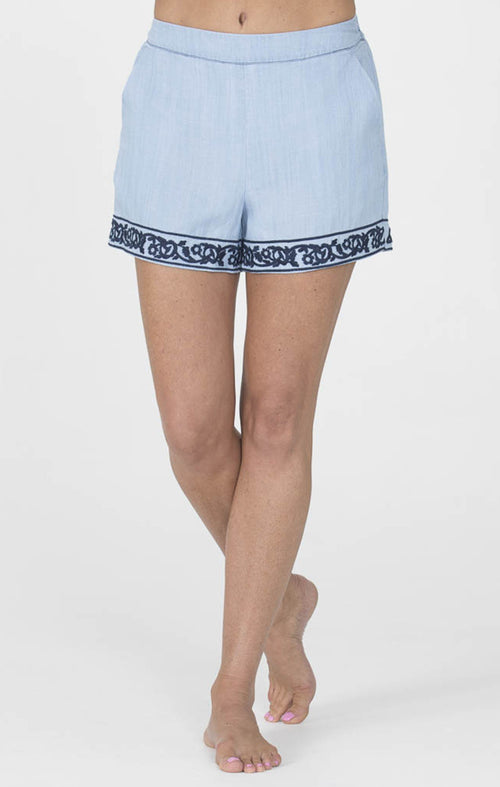 Blue Embroidered Shorts
