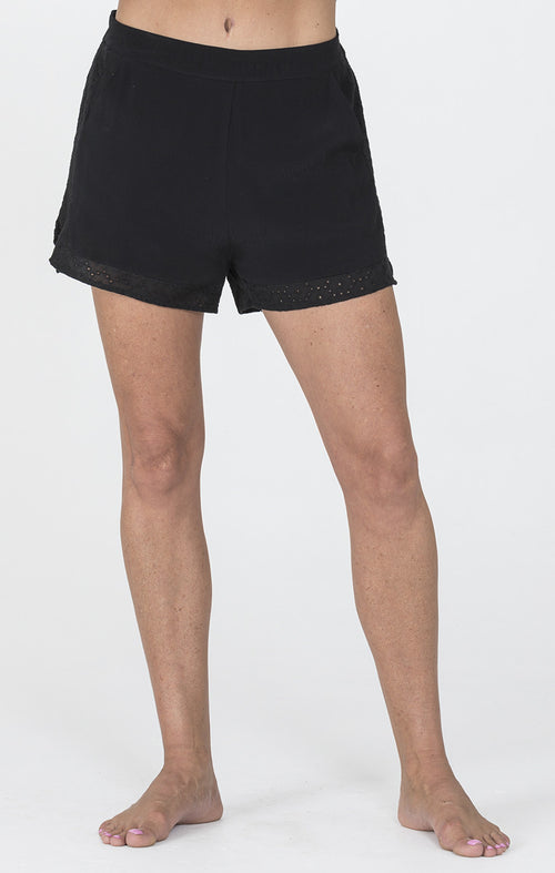 Black Shorts With Laser Cutouts