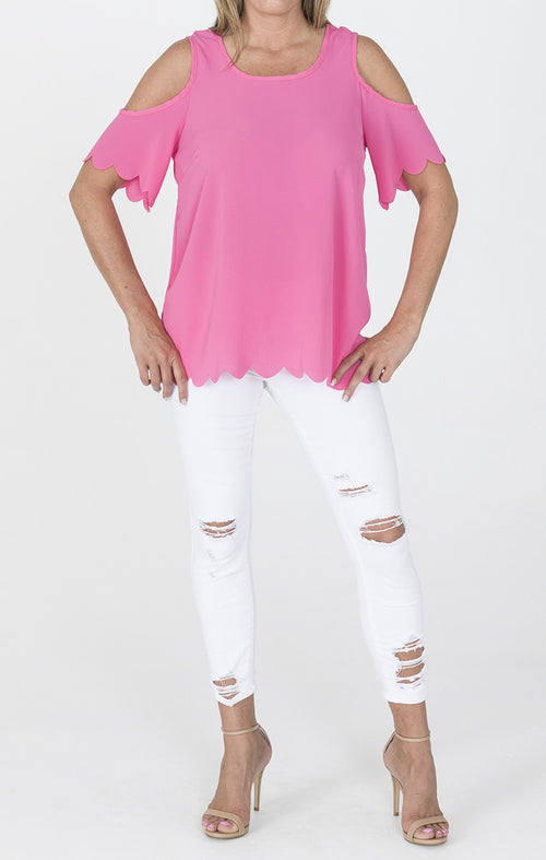 Open Shoulder Tunic Top - Pink