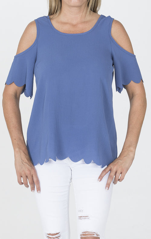 Open Shoulder Tunic Top - Blue