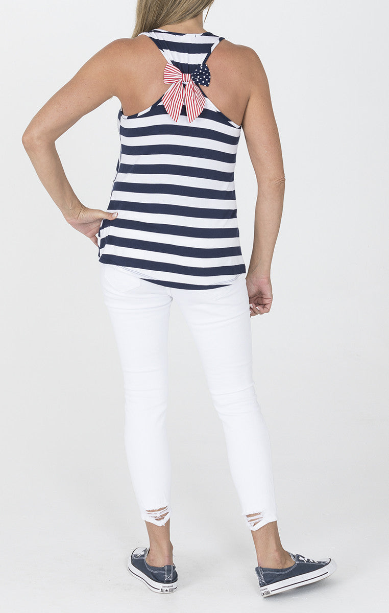 Navy and White Tank with Star Spangled Bow - Troovi Finds, Tops, American Chic, Troovi Finds