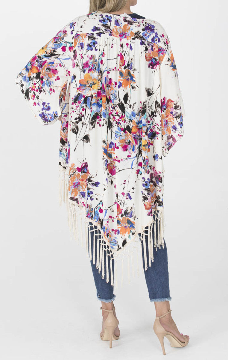 White Floral Fringe Kimono - Troovi Finds, Tops, American Fit, Troovi Finds