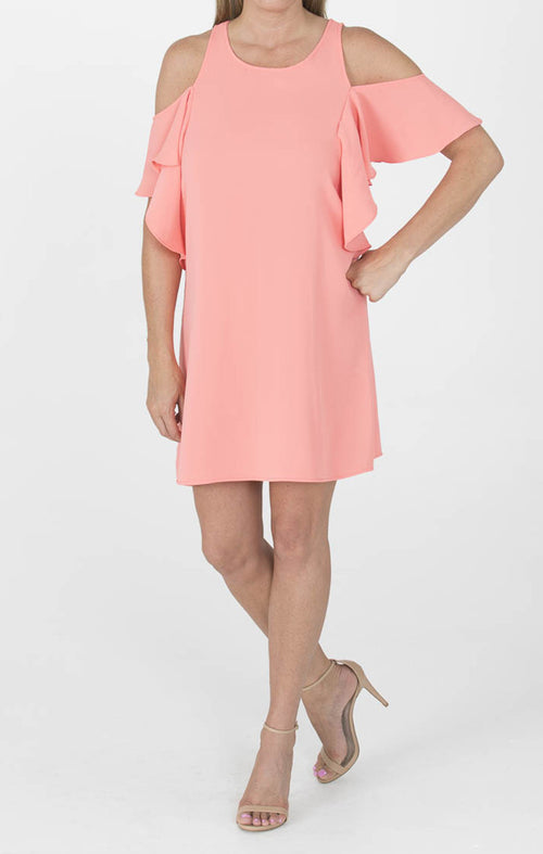 Off Shoulder Ruffle Dress  - Coral
